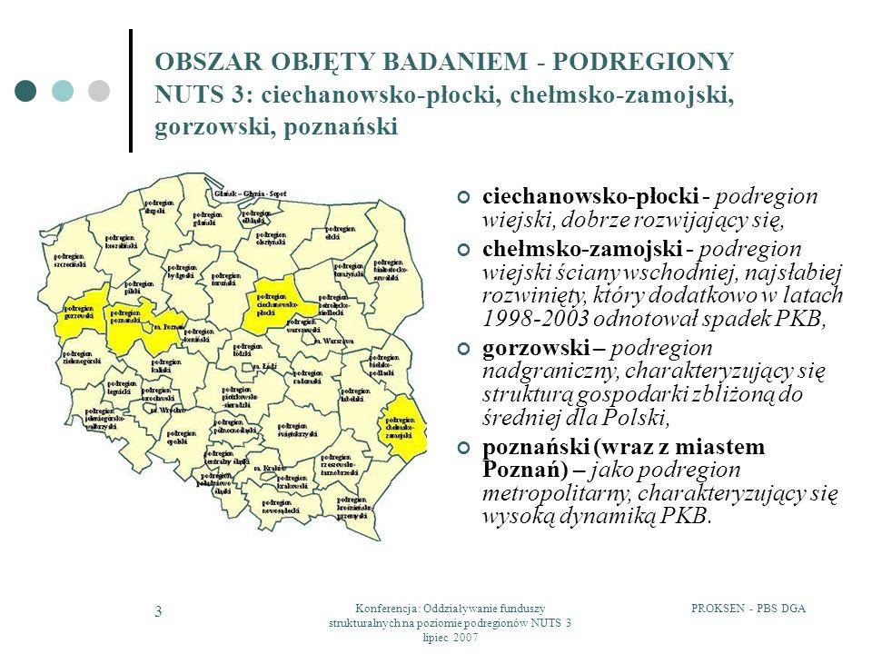 PROKSEN - PBS DGAKonferencja: Oddziaływanie funduszy strukturalnych na poziomie podregionów NUTS 3 lipiec 2007 4 OBSZAR OBJĘTY BADANIEM - PODREGIONY NUTS 3: ciechanowsko-płocki, chełmsko-zamojski, gorzowski, poznański Tabela: Podstawowe dane makroekonomiczne dotyczące wytypowanych podregionów Obszar PKB struktura wart.