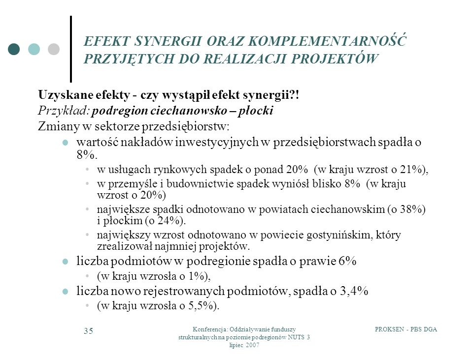 PROKSEN - PBS DGAKonferencja: Oddziaływanie funduszy strukturalnych na poziomie podregionów NUTS 3 lipiec 2007 35 EFEKT SYNERGII ORAZ KOMPLEMENTARNOŚĆ PRZYJĘTYCH DO REALIZACJI PROJEKTÓW Uzyskane efekty - czy wystąpił efekt synergii?.