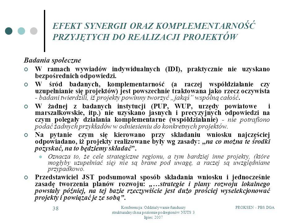 PROKSEN - PBS DGAKonferencja: Oddziaływanie funduszy strukturalnych na poziomie podregionów NUTS 3 lipiec 2007 38 EFEKT SYNERGII ORAZ KOMPLEMENTARNOŚĆ