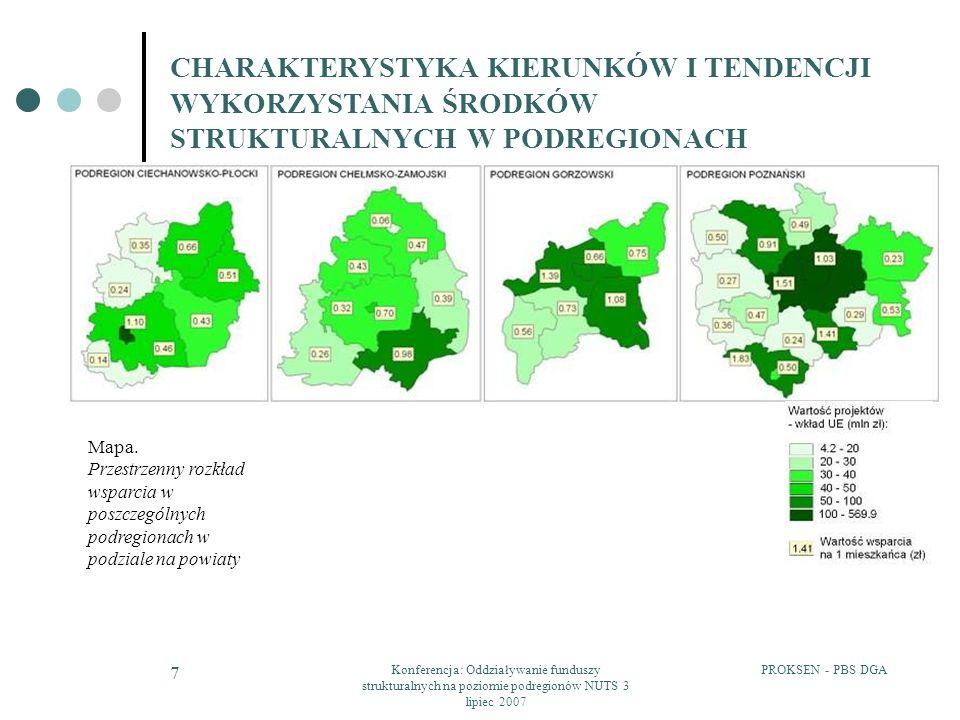 PROKSEN - PBS DGAKonferencja: Oddziaływanie funduszy strukturalnych na poziomie podregionów NUTS 3 lipiec 2007 28 EFEKT SYNERGII ORAZ KOMPLEMENTARNOŚĆ PRZYJĘTYCH DO REALIZACJI PROJEKTÓW Wskazanie obszarów gdzie wystąpiły działania komplementarne: Infrastruktura transportowa i komunalna Działania prospołeczne – walka z bezrobociem Infrastruktura społeczna Zasoby ludzkie Przedsiębiorczość Wsparcie instytucjonalne dla przedsiębiorczości