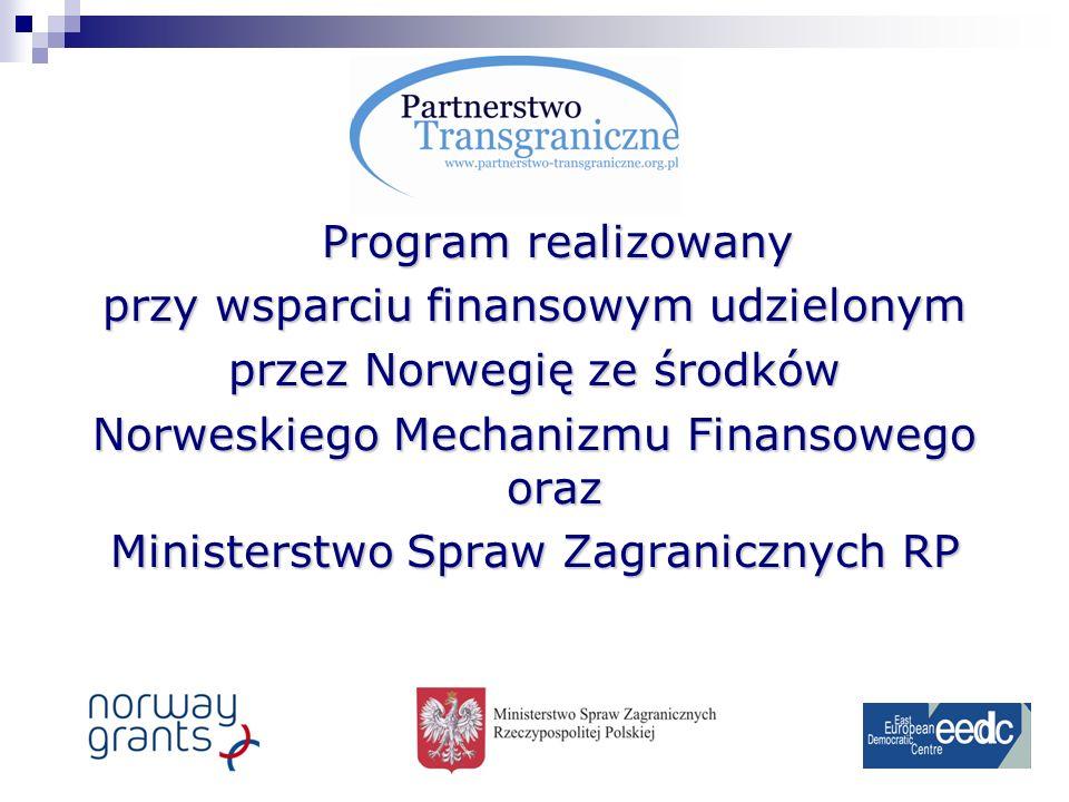 Program realizowany przy wsparciu finansowym udzielonym przez Norwegię ze środków Norweskiego Mechanizmu Finansowego oraz Ministerstwo Spraw Zagranicznych RP