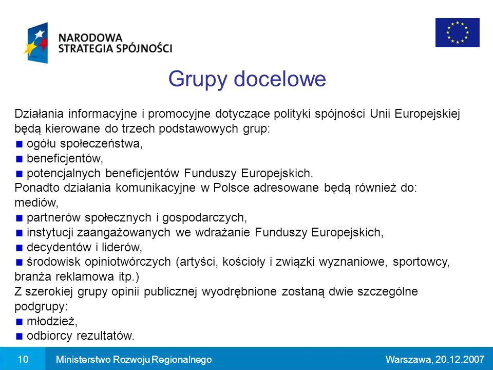 Działania informacyjne i promocyjne dotyczące polityki spójności Unii Europejskiej będą kierowane do trzech podstawowych grup: ogółu społeczeństwa, beneficjentów, potencjalnych beneficjentów Funduszy Europejskich.