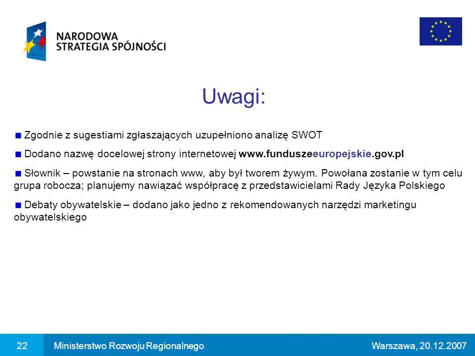 22Ministerstwo Rozwoju RegionalnegoWarszawa, 20.12.2007 Zgodnie z sugestiami zgłaszających uzupełniono analizę SWOT Dodano nazwę docelowej strony internetowej www.funduszeeuropejskie.gov.pl Słownik – powstanie na stronach www, aby był tworem żywym.