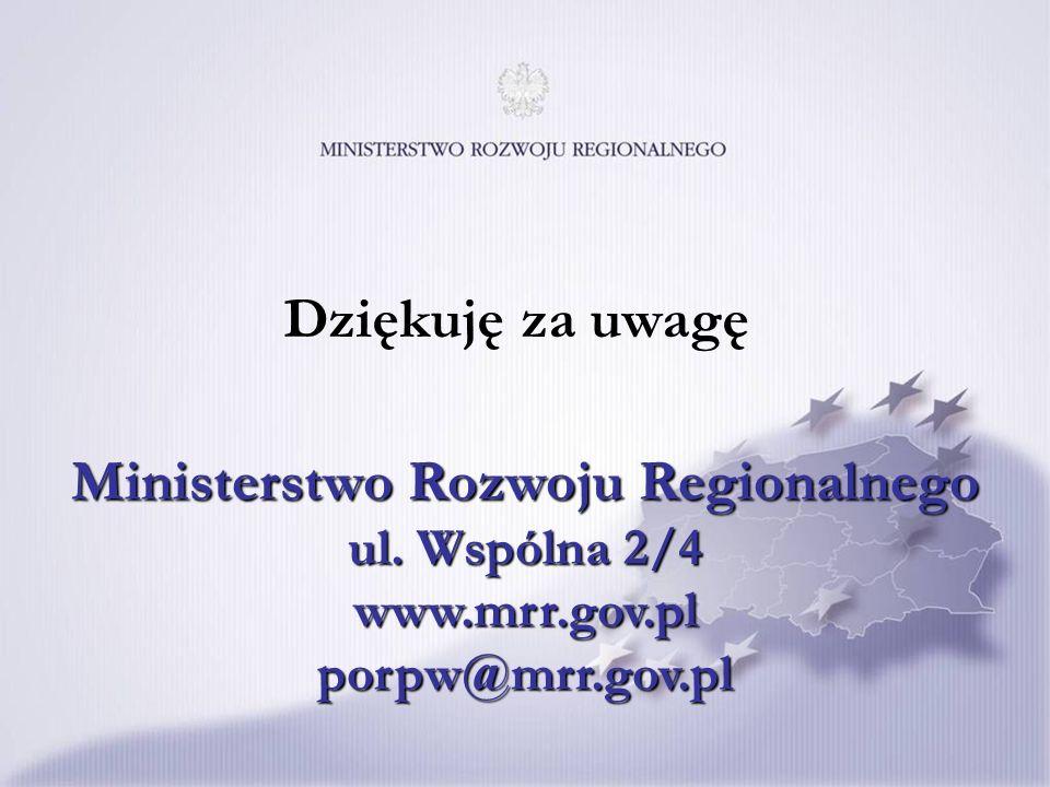 Ministerstwo Rozwoju Regionalnego ul. Wspólna 2/4 www.mrr.gov.pl porpw@mrr.gov.pl Dziękuję za uwagę