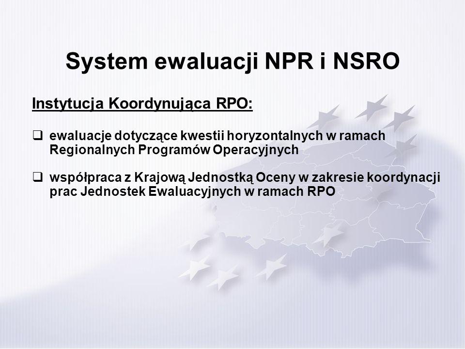 System ewaluacji NPR i NSRO Instytucja Koordynująca RPO: ewaluacje dotyczące kwestii horyzontalnych w ramach Regionalnych Programów Operacyjnych współ