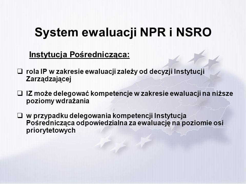 System ewaluacji NPR i NSRO Instytucja Pośrednicząca: rola IP w zakresie ewaluacji zależy od decyzji Instytucji Zarządzającej IZ może delegować kompet