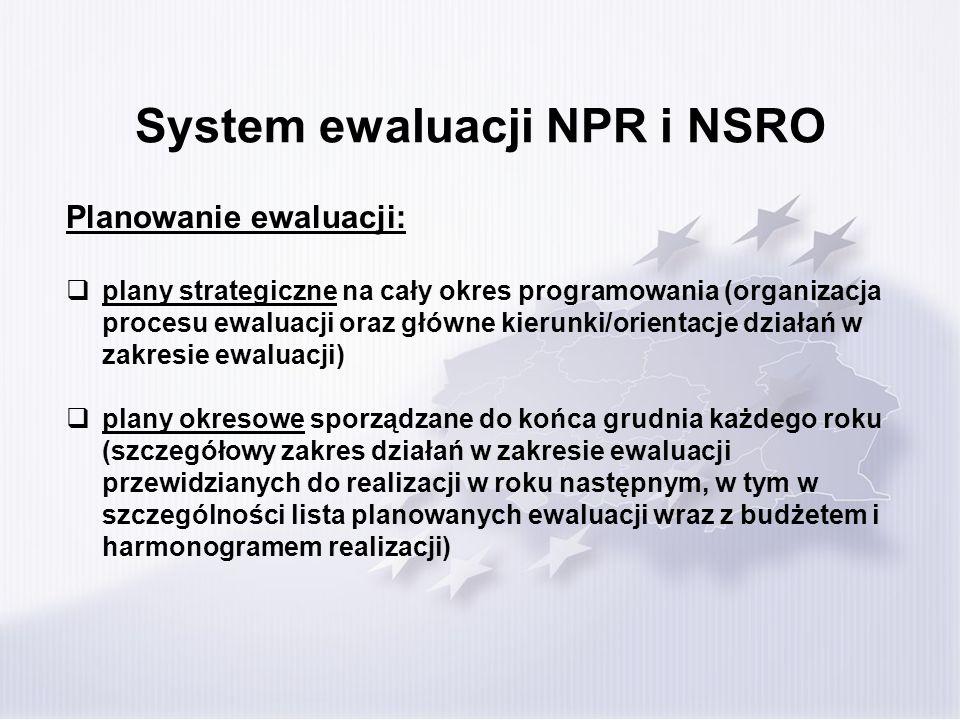 System ewaluacji NPR i NSRO Planowanie ewaluacji: plany strategiczne na cały okres programowania (organizacja procesu ewaluacji oraz główne kierunki/o