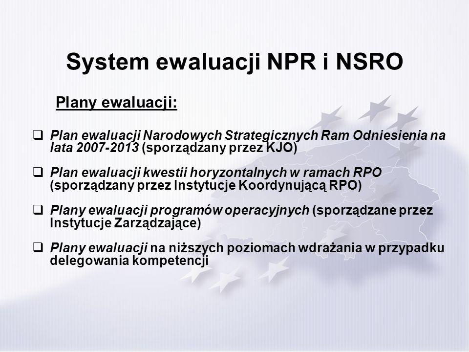System ewaluacji NPR i NSRO Plany ewaluacji: Plan ewaluacji Narodowych Strategicznych Ram Odniesienia na lata 2007-2013 (sporządzany przez KJO) Plan e