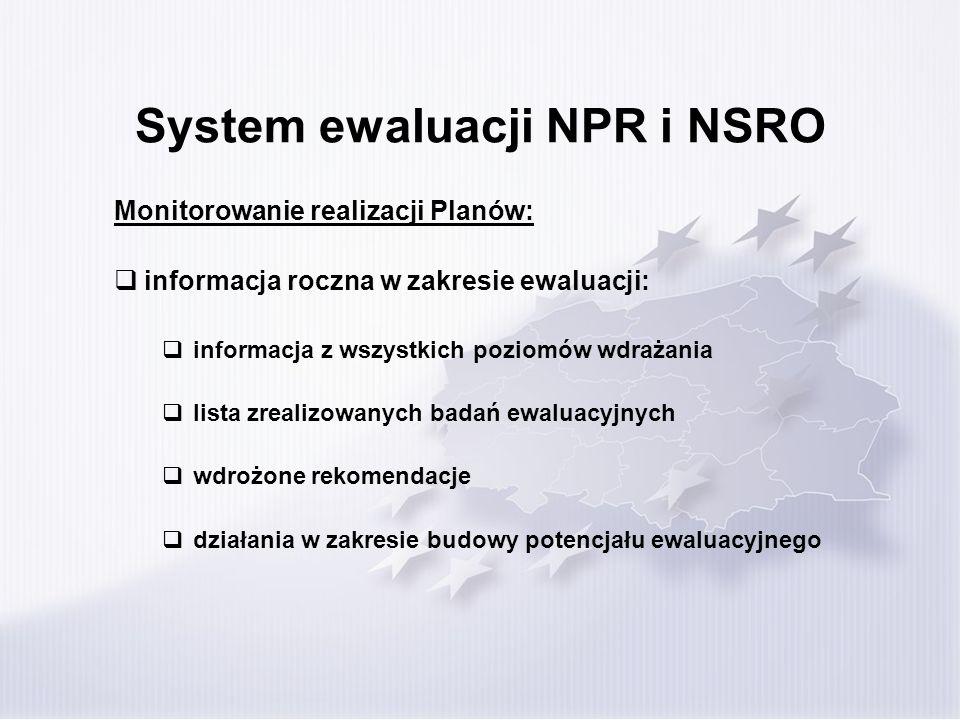 System ewaluacji NPR i NSRO Monitorowanie realizacji Planów: informacja roczna w zakresie ewaluacji: informacja z wszystkich poziomów wdrażania lista