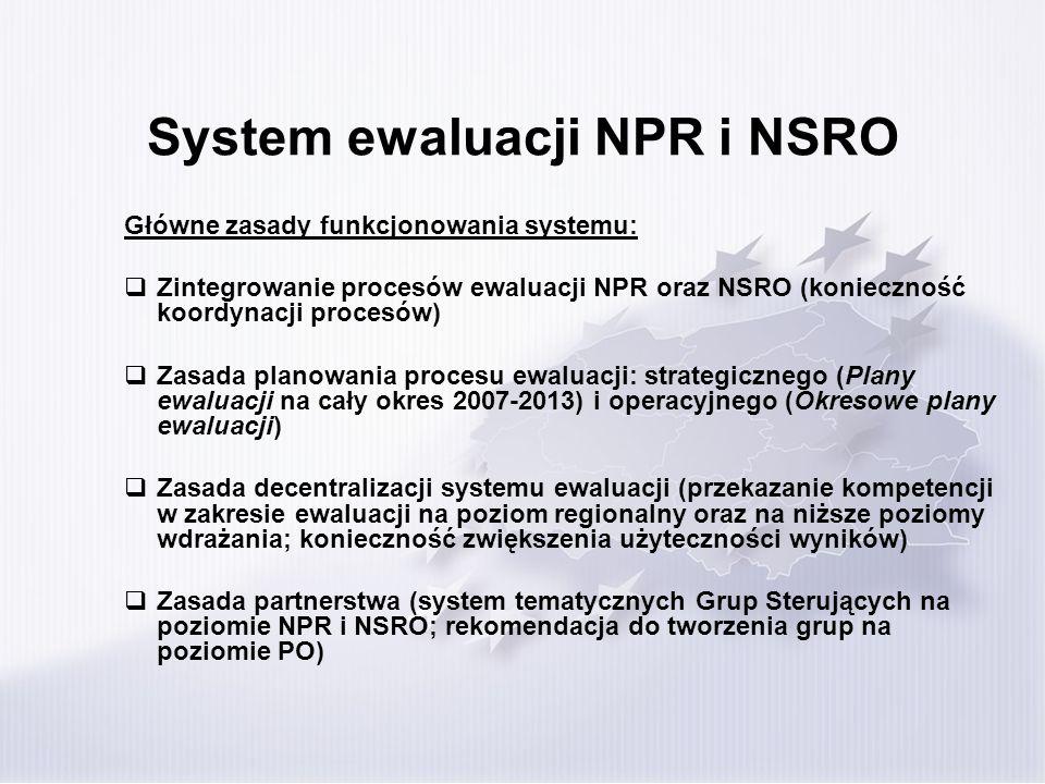 System ewaluacji NPR i NSRO Główne dokumenty określające zasady organizacji systemu ewaluacji: Wytyczne w zakresie ewaluacji programów operacyjnych na lata 2007-2013 - zakres kompetencji głównych podmiotów, ogólne zasady realizacji procesu ewaluacji, wymagania dot.