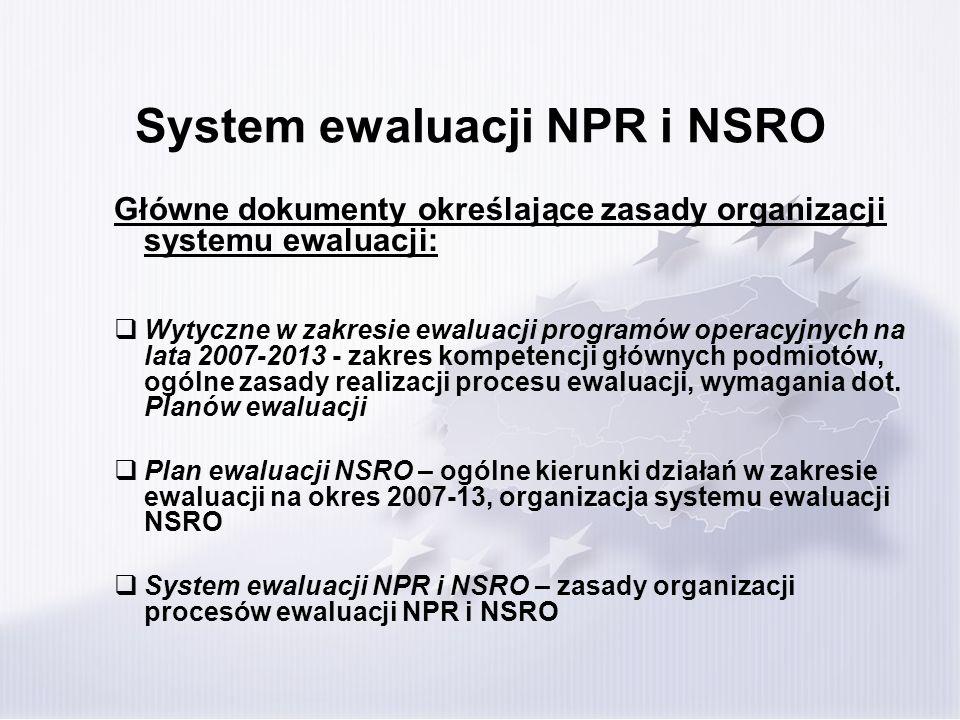 System ewaluacji NPR i NSRO Ewaluacja na poziomie NPR/NSRO Wpływ NPR i NSRO na rozwój społeczno- ekonomiczny Rozwój i modernizacja infrastruktury Innowacyjność i konkurencyjność gospodarki Rozwój zasobów ludzkich Rozwój regionalny i terytorialny Budowa potencjału administracji publicznej i realizacja zasady good governance