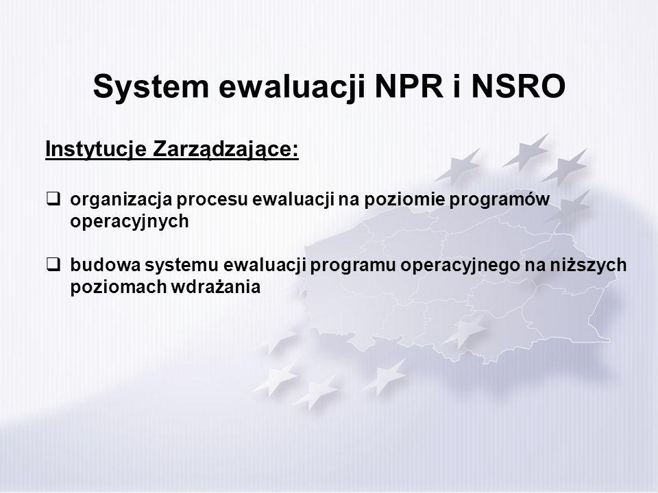 System ewaluacji NPR i NSRO Jednostka Ewaluacyjna: funkcjonuje w w ramach Instytucji Zarządzającej/Pośredniczącej (może zostać powołana poza komórką organizacyjną pełniącą funkcję Instytucji Zarządzającej) współpracuje ściśle z komórkami merytorycznymi oraz innymi instytucjami zaangażowanymi w proces wdrażania (m.in.