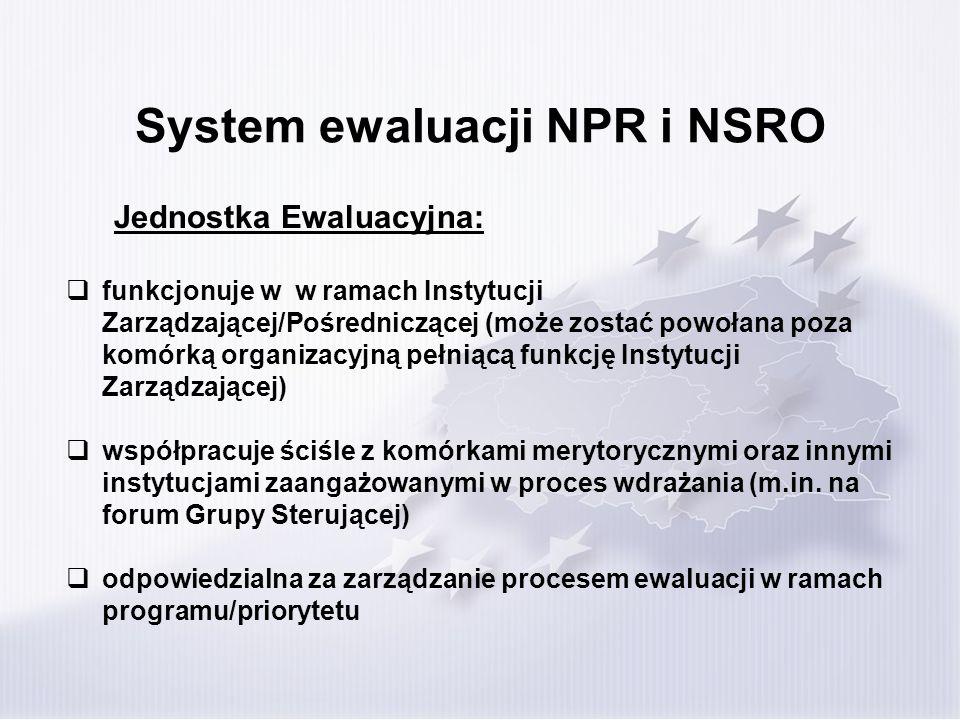 System ewaluacji NPR i NSRO Jednostka Ewaluacyjna: funkcjonuje w w ramach Instytucji Zarządzającej/Pośredniczącej (może zostać powołana poza komórką o