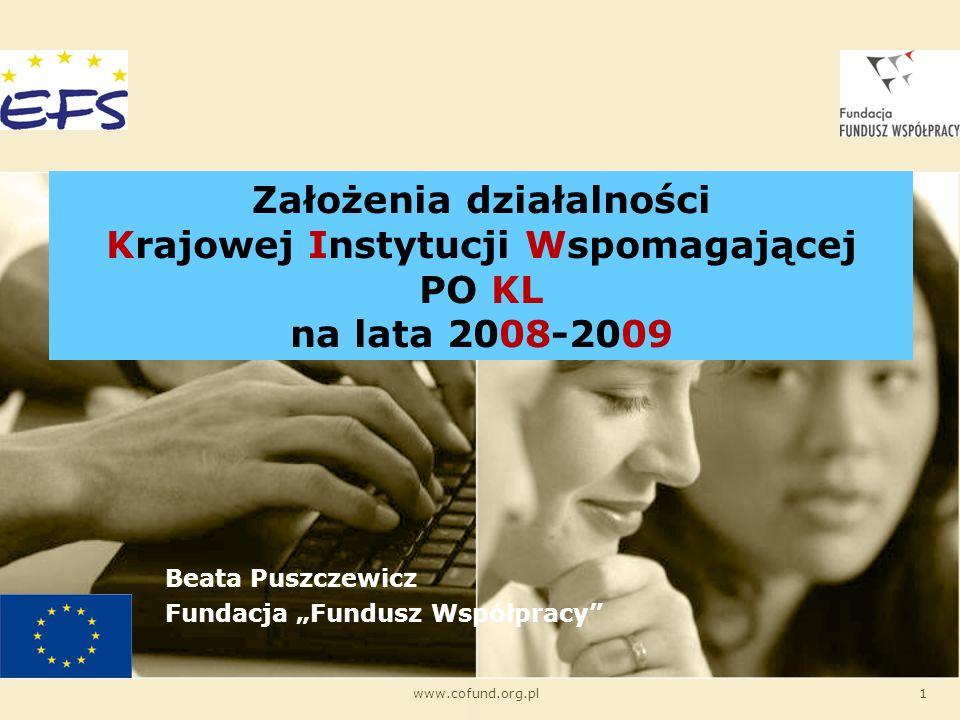 www.cofund.org.pl1 Założenia działalności Krajowej Instytucji Wspomagającej PO KL na lata 2008-2009 Beata Puszczewicz Fundacja Fundusz Współpracy