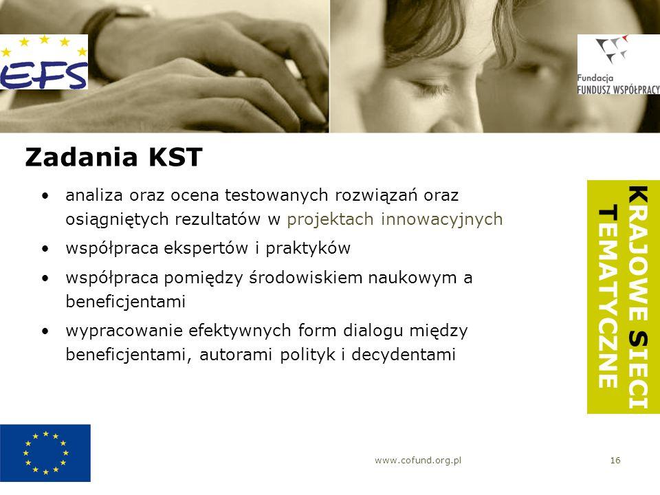 www.cofund.org.pl16 Zadania KST analiza oraz ocena testowanych rozwiązań oraz osiągniętych rezultatów w projektach innowacyjnych współpraca ekspertów