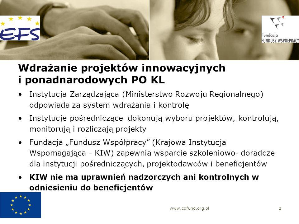 www.cofund.org.pl2 Wdrażanie projektów innowacyjnych i ponadnarodowych PO KL Instytucja Zarządzająca (Ministerstwo Rozwoju Regionalnego) odpowiada za