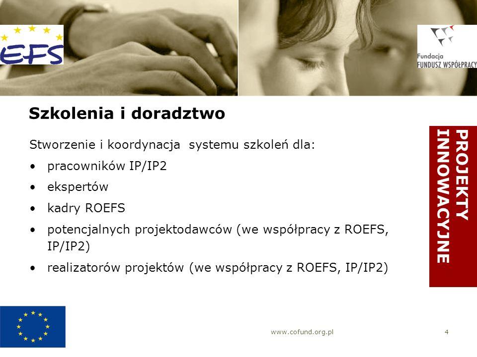 www.cofund.org.pl4 Szkolenia i doradztwo Stworzenie i koordynacja systemu szkoleń dla: pracowników IP/IP2 ekspertów kadry ROEFS potencjalnych projektodawców (we współpracy z ROEFS, IP/IP2) realizatorów projektów (we współpracy z ROEFS, IP/IP2) PROJEKTYINNOWACYJNE