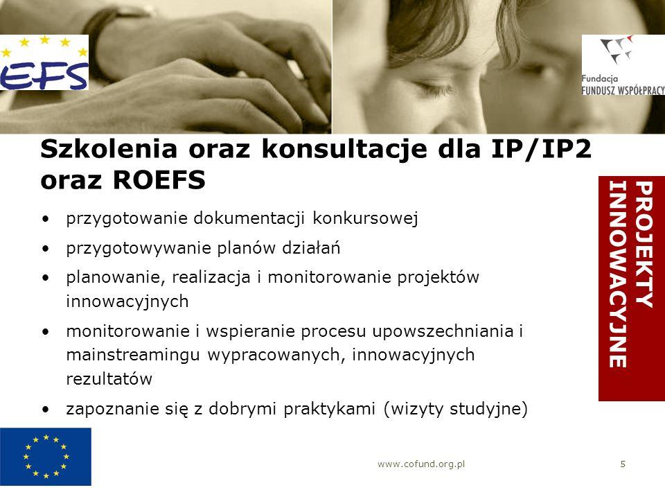 www.cofund.org.pl6 Doradztwo merytoryczne dla IP/IP2 oraz ROEFS konsultacje telefoniczne z ekspertami KIW rekomendowanie ekspertów zewnętrznych wybranych przez MRR i KIW do współpracy prowadzenie internetowej bazy ekspertów oraz forum dyskusyjnego prowadzenie interaktywnego portalu internetowego fora dyskusyjne PROJEKTYINNOWACYJNE