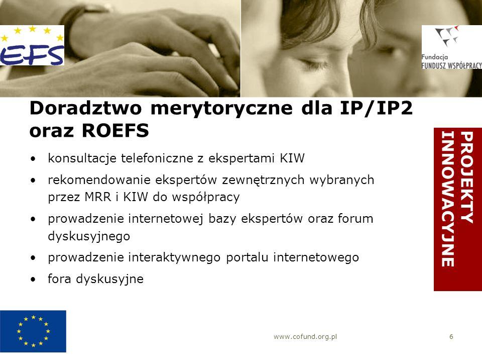 www.cofund.org.pl6 Doradztwo merytoryczne dla IP/IP2 oraz ROEFS konsultacje telefoniczne z ekspertami KIW rekomendowanie ekspertów zewnętrznych wybran