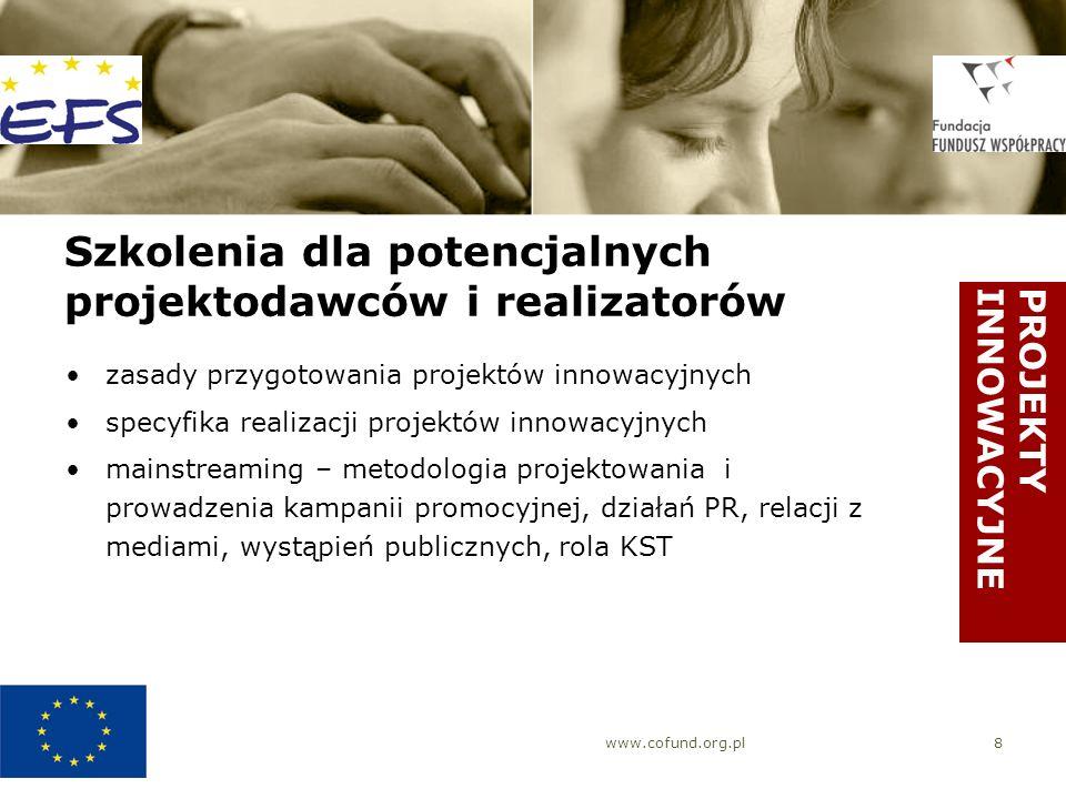 www.cofund.org.pl8 Szkolenia dla potencjalnych projektodawców i realizatorów zasady przygotowania projektów innowacyjnych specyfika realizacji projekt