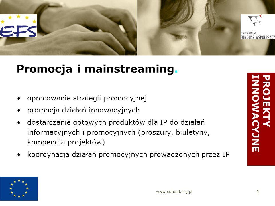 www.cofund.org.pl9 Promocja i mainstreaming. opracowanie strategii promocyjnej promocja działań innowacyjnych dostarczanie gotowych produktów dla IP d