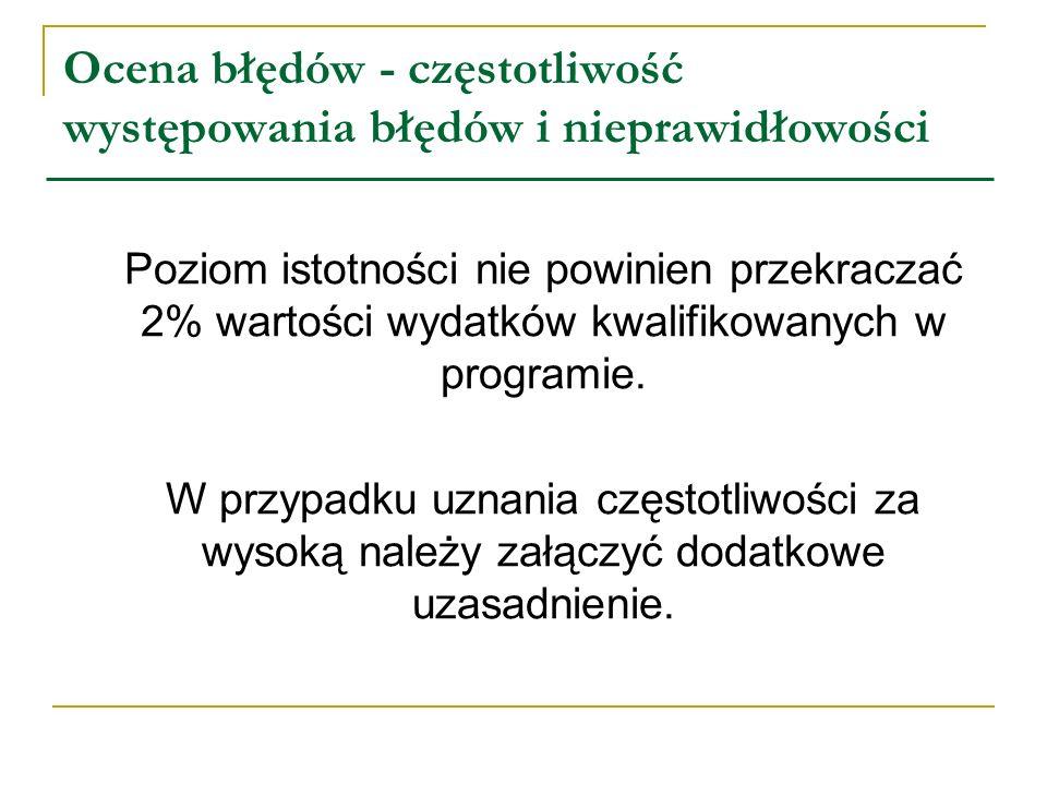 Ocena błędów - częstotliwość występowania błędów i nieprawidłowości Poziom istotności nie powinien przekraczać 2% wartości wydatków kwalifikowanych w programie.