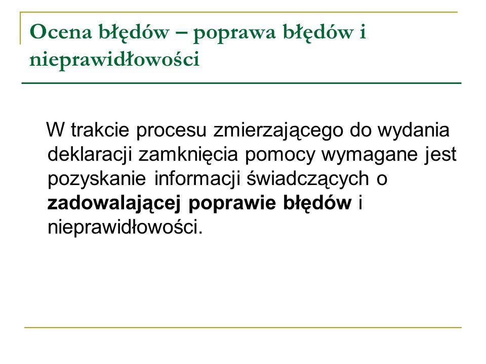 Ocena błędów – poprawa błędów i nieprawidłowości W trakcie procesu zmierzającego do wydania deklaracji zamknięcia pomocy wymagane jest pozyskanie info