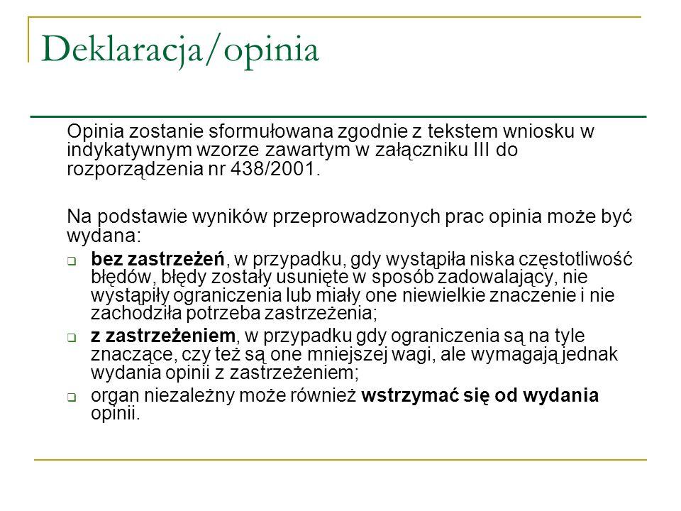 Deklaracja/opinia Opinia zostanie sformułowana zgodnie z tekstem wniosku w indykatywnym wzorze zawartym w załączniku III do rozporządzenia nr 438/2001