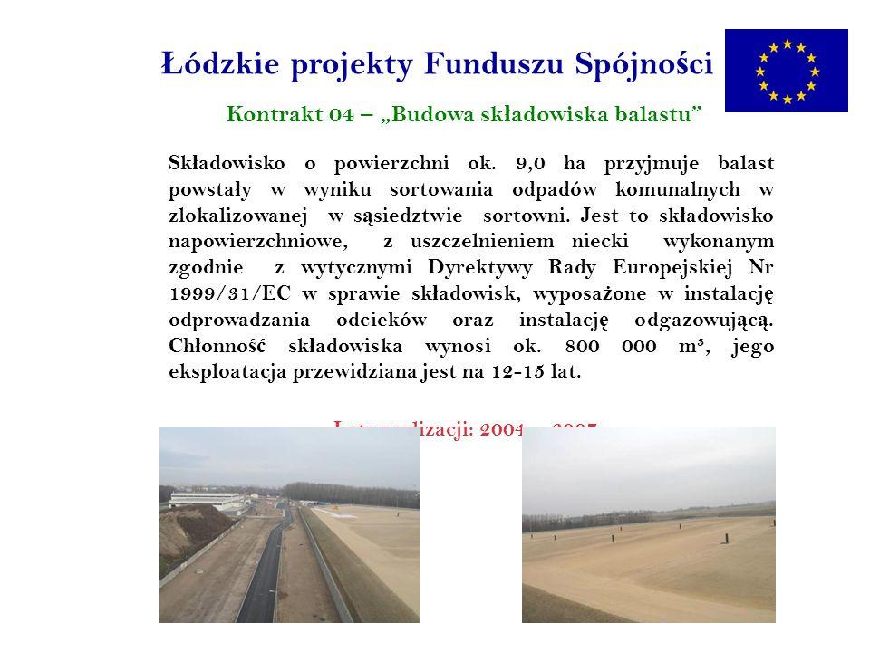 Ł ódzkie projekty Funduszu Spójno ś ci Kontrakt 04 – Budowa sk ł adowiska balastu Sk ł adowisko o powierzchni ok.