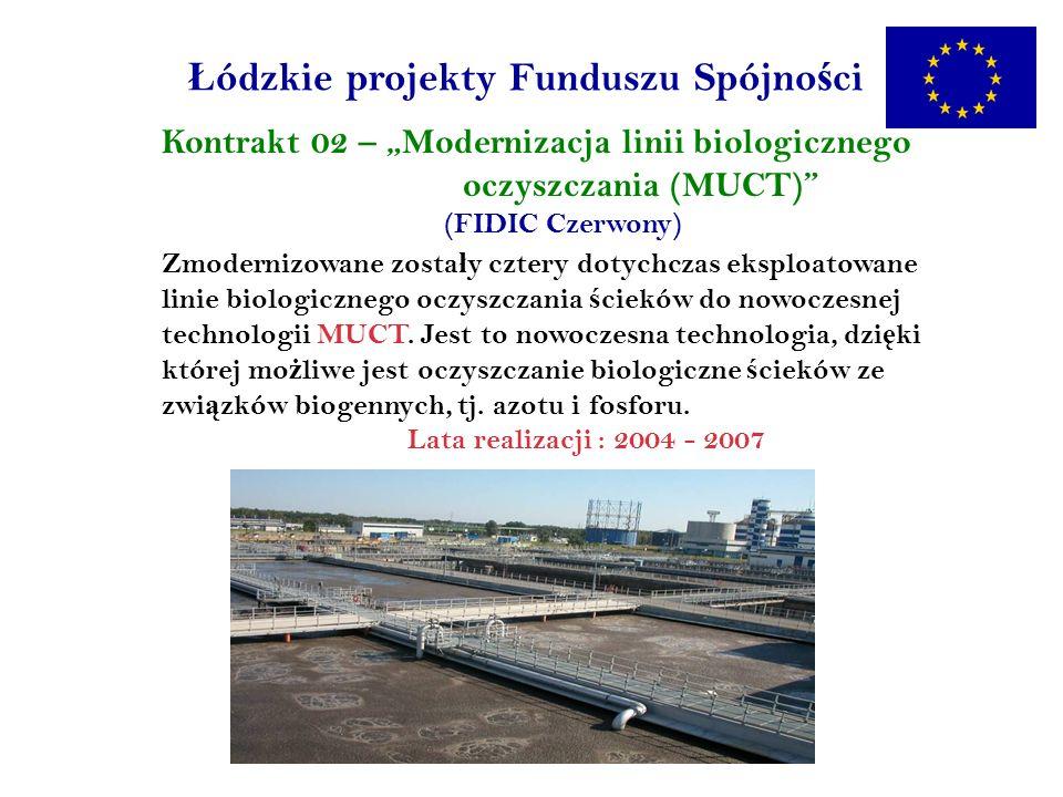 Ł ódzkie projekty Funduszu Spójno ś ci Kontrakt 02 – Modernizacja linii biologicznego oczyszczania (MUCT) (FIDIC Czerwony) Zmodernizowane zosta ł y cztery dotychczas eksploatowane linie biologicznego oczyszczania ś cieków do nowoczesnej technologii MUCT.