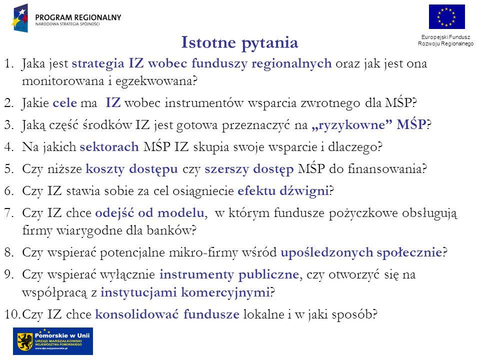Europejski Fundusz Rozwoju Regionalnego 1.Jaka jest strategia IZ wobec funduszy regionalnych oraz jak jest ona monitorowana i egzekwowana.