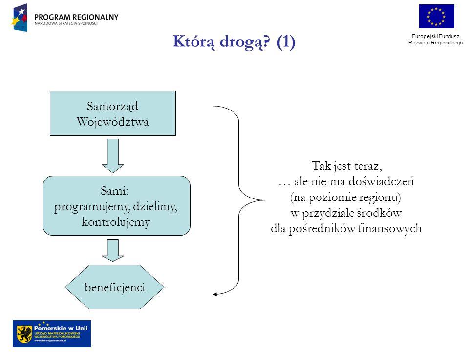 Europejski Fundusz Rozwoju Regionalnego Samorząd Województwa Sami: programujemy, dzielimy, kontrolujemy beneficjenci Tak jest teraz, … ale nie ma doświadczeń (na poziomie regionu) w przydziale środków dla pośredników finansowych Którą drogą.
