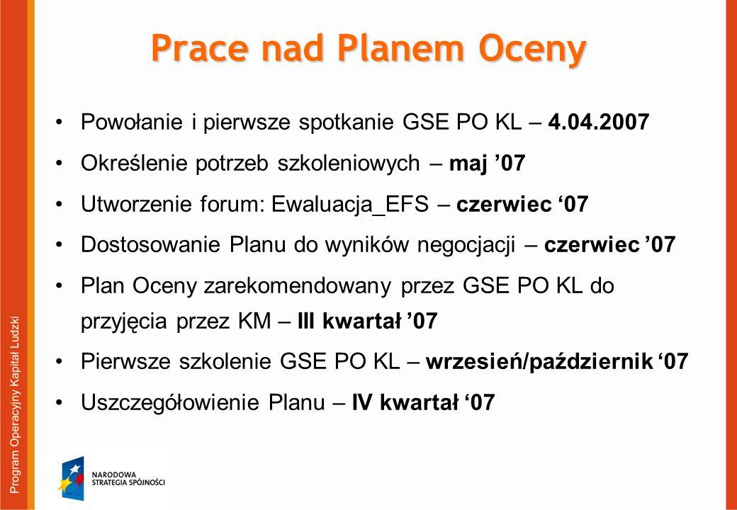Prace nad Planem Oceny Powołanie i pierwsze spotkanie GSE PO KL – 4.04.2007 Określenie potrzeb szkoleniowych – maj 07 Utworzenie forum: Ewaluacja_EFS