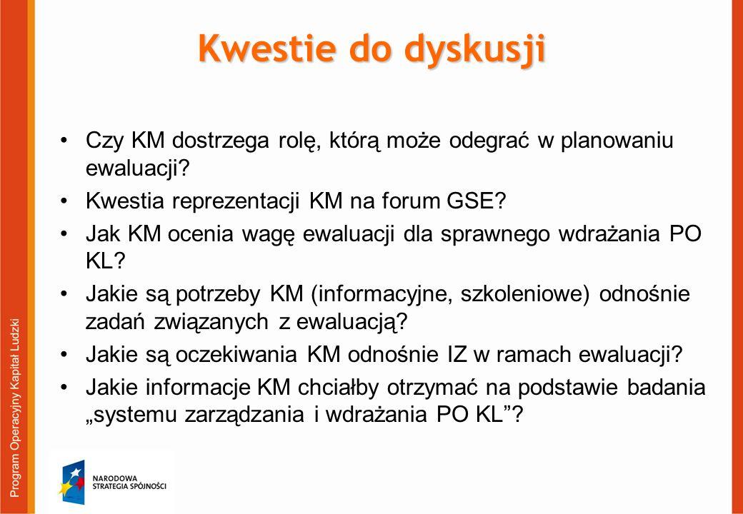 Czy KM dostrzega rolę, którą może odegrać w planowaniu ewaluacji? Kwestia reprezentacji KM na forum GSE? Jak KM ocenia wagę ewaluacji dla sprawnego wd