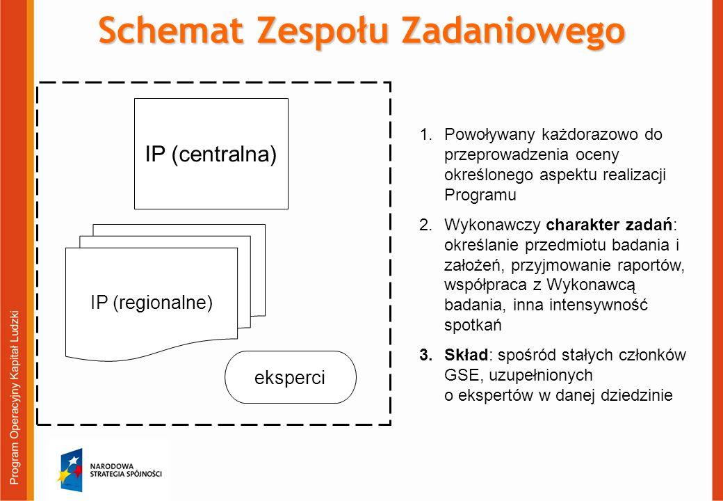 IP (centralna) IP (regionalne) eksperci Schemat Zespołu Zadaniowego 1.Powoływany każdorazowo do przeprowadzenia oceny określonego aspektu realizacji Programu 2.Wykonawczy charakter zadań: określanie przedmiotu badania i założeń, przyjmowanie raportów, współpraca z Wykonawcą badania, inna intensywność spotkań 3.Skład: spośród stałych członków GSE, uzupełnionych o ekspertów w danej dziedzinie