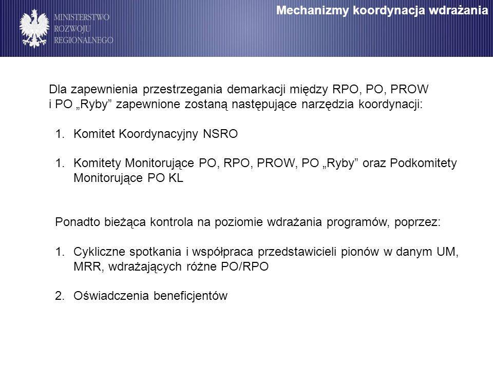 Mechanizmy koordynacja wdrażania Dla zapewnienia przestrzegania demarkacji między RPO, PO, PROW i PO Ryby zapewnione zostaną następujące narzędzia koordynacji: 1.