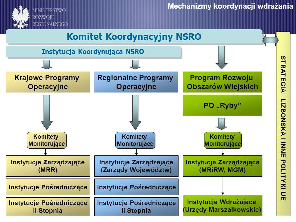 Mechanizmy koordynacji wdrażania Komitet Koordynacyjny NSRO Program Rozwoju Obszarów Wiejskich PO Ryby Instytucje Zarządzające (MRR) Instytucje Pośredniczące Instytucje Pośredniczące II Stopnia Instytucje Zarządzające (Zarządy Województw) Instytucje Pośredniczące Instytucje Pośredniczące II Stopnia Komitety Monitorujące Instytucja Zarządzająca (MRiRW, MGM) Instytucje Wdrażające (Urzędy Marszałkowskie) Krajowe Programy Operacyjne Regionalne Programy Operacyjne Instytucja Koordynująca NSRO STRATEGIA LIZBONSKA I INNE POLITYKI UE