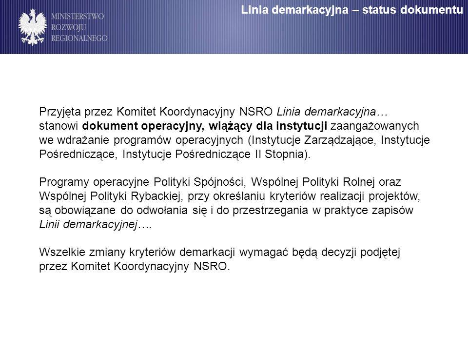 Przyjęta przez Komitet Koordynacyjny NSRO Linia demarkacyjna… stanowi dokument operacyjny, wiążący dla instytucji zaangażowanych we wdrażanie programów operacyjnych (Instytucje Zarządzające, Instytucje Pośredniczące, Instytucje Pośredniczące II Stopnia).