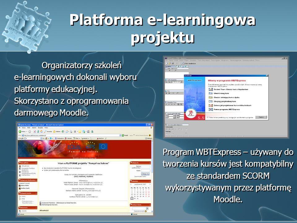 Organizatorzy szkoleń e-learningowych dokonali wyboru platformy edukacyjnej. Skorzystano z oprogramowania darmowego Moodle. Platforma e-learningowa pr