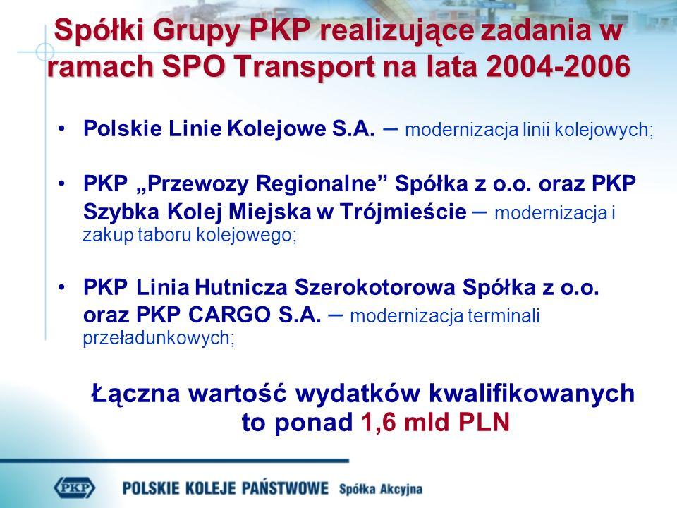 Spółki Grupy PKP realizujące zadania w ramach SPO Transport na lata 2004-2006 Polskie Linie Kolejowe S.A.