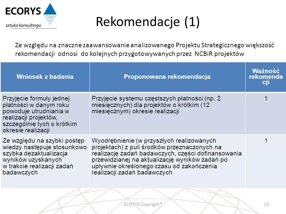 Rekomendacje (1) ECORYS Copyright ®13 Wniosek z badaniaProponowana rekomendacja Ważność rekomenda cji Przyjęcie formuły jednej płatności w danym roku