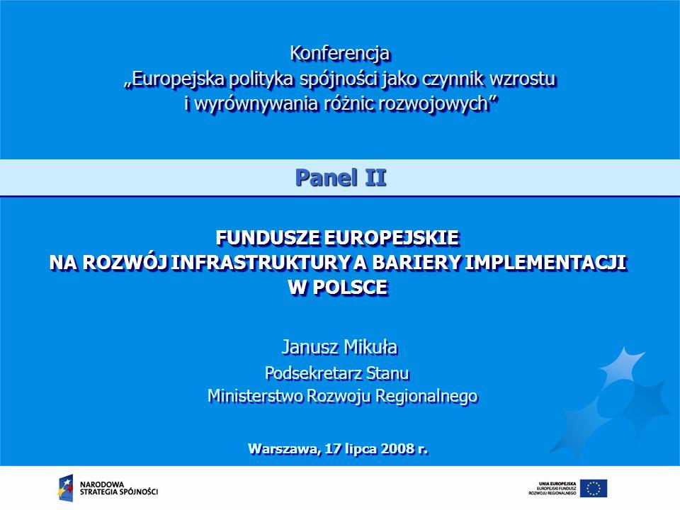 FUNDUSZE EUROPEJSKIE NA ROZWÓJ INFRASTRUKTURY A BARIERY IMPLEMENTACJI W POLSCE Warszawa, 17 lipca 2008 r. Konferencja Europejska polityka spójności ja