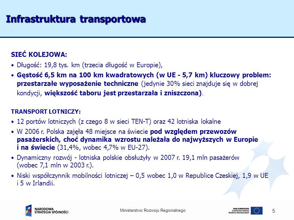 Ministerstwo Rozwoju Regionalnego 5 Infrastruktura transportowa SIEĆ KOLEJOWA: Długość: 19,8 tys. km (trzecia długość w Europie), Gęstość 6,5 km na 10