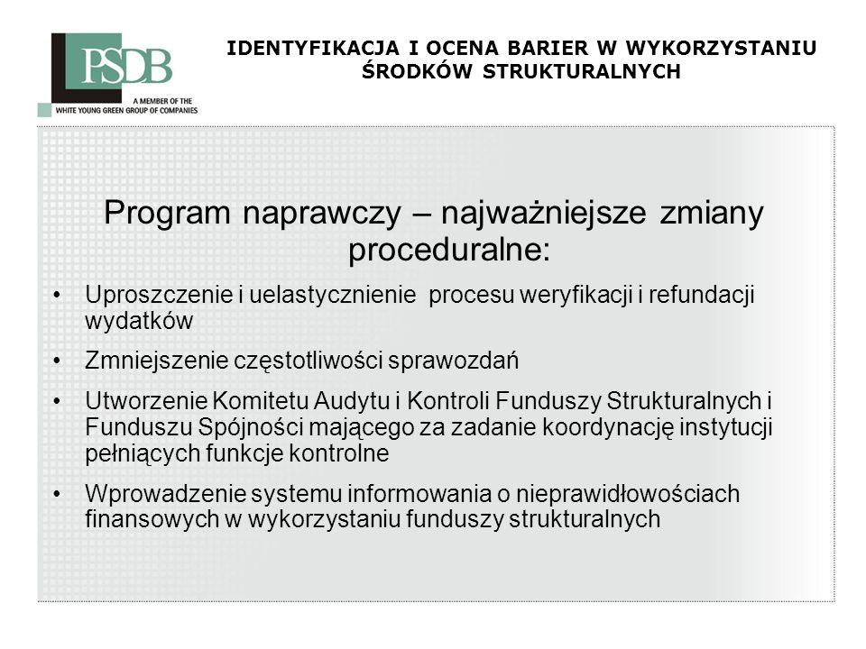 IDENTYFIKACJA I OCENA BARIER W WYKORZYSTANIU ŚRODKÓW STRUKTURALNYCH Program naprawczy – najważniejsze zmiany proceduralne: Uproszczenie i uelastycznie