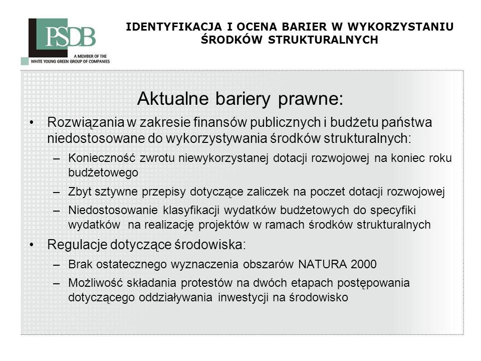IDENTYFIKACJA I OCENA BARIER W WYKORZYSTANIU ŚRODKÓW STRUKTURALNYCH Aktualne bariery prawne: Rozwiązania w zakresie finansów publicznych i budżetu pań