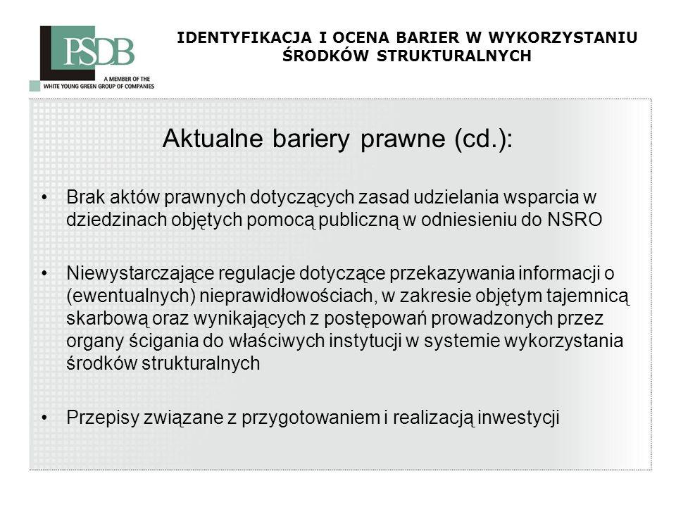 IDENTYFIKACJA I OCENA BARIER W WYKORZYSTANIU ŚRODKÓW STRUKTURALNYCH Aktualne bariery prawne (cd.): Brak aktów prawnych dotyczących zasad udzielania ws
