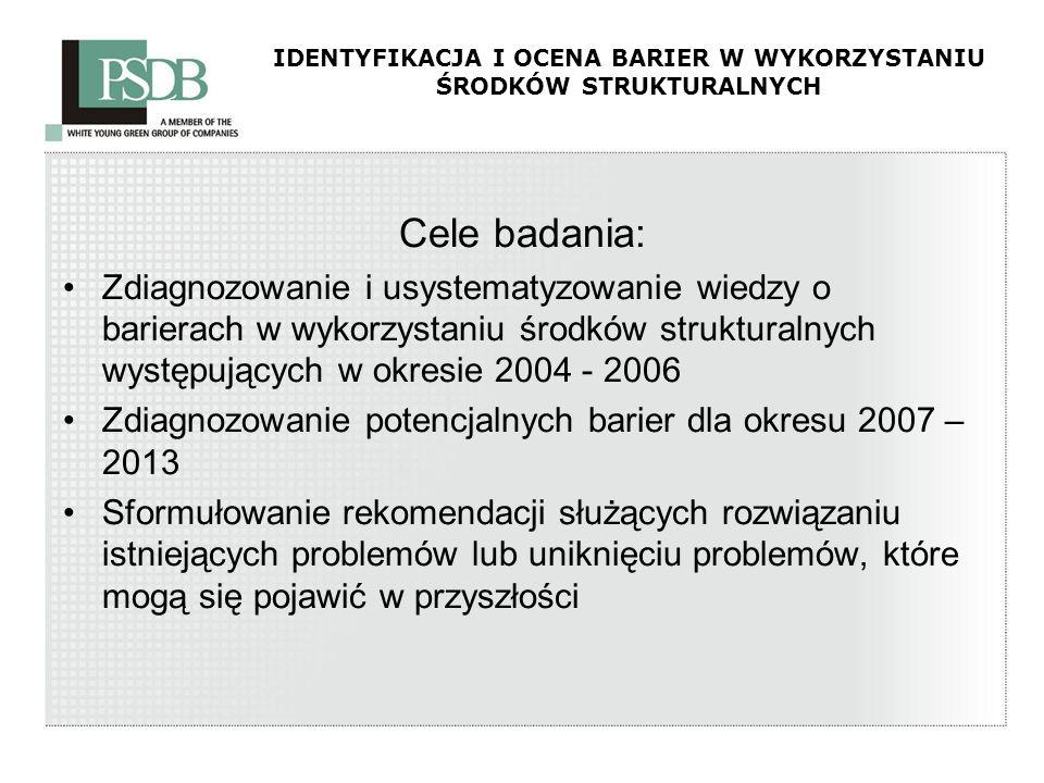 IDENTYFIKACJA I OCENA BARIER W WYKORZYSTANIU ŚRODKÓW STRUKTURALNYCH Cele badania: Zdiagnozowanie i usystematyzowanie wiedzy o barierach w wykorzystani