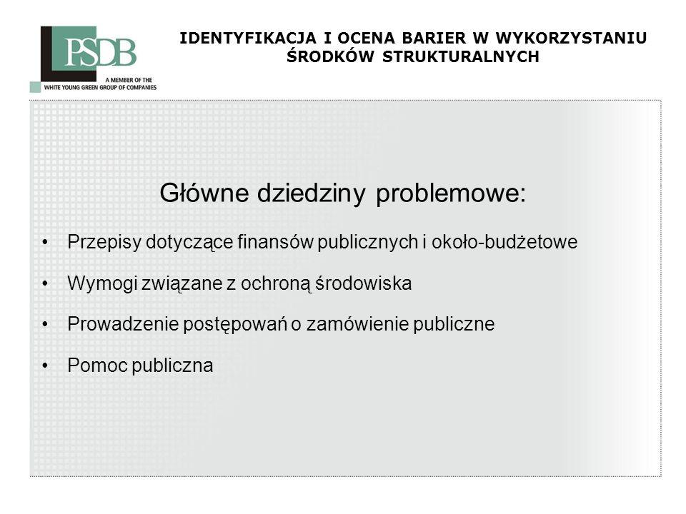 IDENTYFIKACJA I OCENA BARIER W WYKORZYSTANIU ŚRODKÓW STRUKTURALNYCH Główne dziedziny problemowe: Przepisy dotyczące finansów publicznych i około-budże