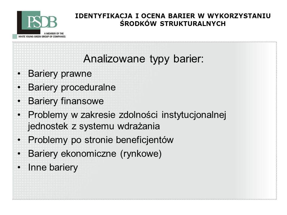 IDENTYFIKACJA I OCENA BARIER W WYKORZYSTANIU ŚRODKÓW STRUKTURALNYCH Analizowane typy barier: Bariery prawne Bariery proceduralne Bariery finansowe Pro