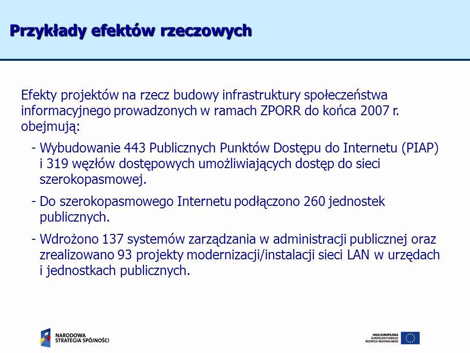 Efekty projektów na rzecz budowy infrastruktury społeczeństwa informacyjnego prowadzonych w ramach ZPORR do końca 2007 r. obejmują: -Wybudowanie 443 P